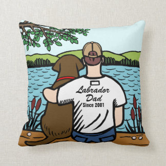 Personalized Chocolate Labrador and Dad 2 Pillow