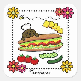 Personalized Chocolate Labrador Bakery Cartoon Square Sticker