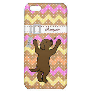 Personalized Chocolate Labrador Cartoon Polka Dot Cover For iPhone 5C