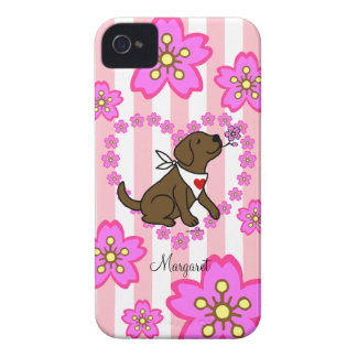 Personalized Chocolate Labrador Cherry Blossoms Case-Mate iPhone 4 Cases