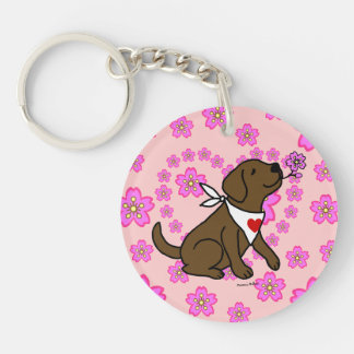 Personalized Chocolate Labrador Cherry Blossoms Keychain