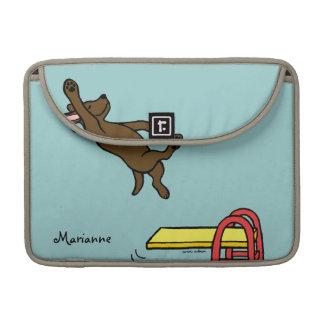 Personalized Chocolate Labrador Diving Cartoon MacBook Pro Sleeves