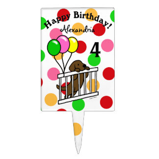 Personalized Chocolate Labrador Puppy Birthday Cake Topper