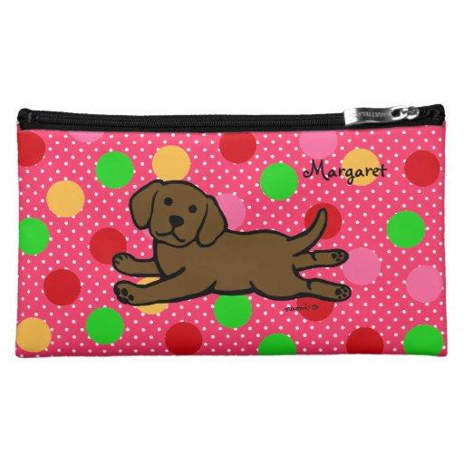 Personalized Chocolate Labrador Puppy Cartoon Cosmetic Bag