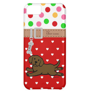 Personalized Chocolate Labrador Puppy Cartoon iPhone 5C Cases