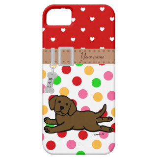 Personalized Chocolate Labrador Puppy Cartoon iPhone 5 Cases