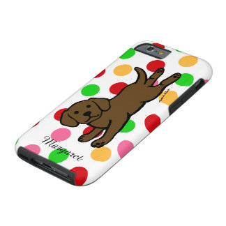 Personalized Chocolate Labrador Puppy Cartoon Tough iPhone 6 Case