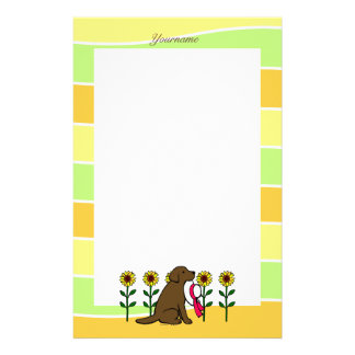 Personalized Chocolate Labrador with Sunflowers Stationery