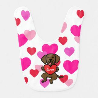 Personalized Chocolate Labrador Yummy Heart Baby Bib