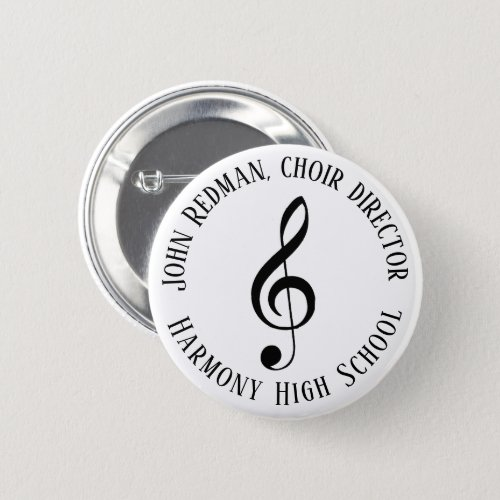 Personalized Choir Director Treble Clef Music Button