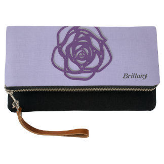 Personalized Choose Color Rose on Purple Clutch