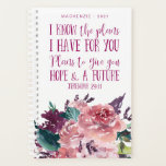 """Personalized Christian Bible Verse Floral Planner<br><div class=""""desc"""">Personalized Christian Bible Verse Floral Planner featuring soft watercolor roses and beautiful typography of Jeremiah 29:11. Easy to customize with your name or other text.</div>"""