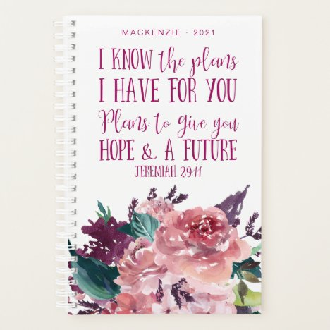 Personalized Christian Bible Verse Floral Planner