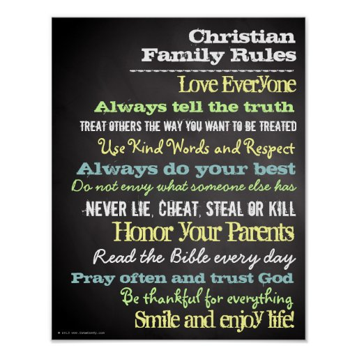 Personalized Christian Family Rules House Sign Print