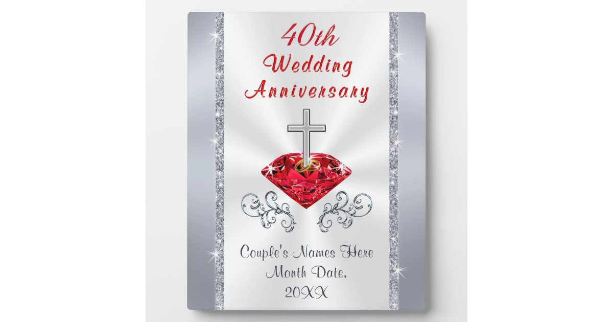 Ruby Anniversary Gift Ideas Plaque