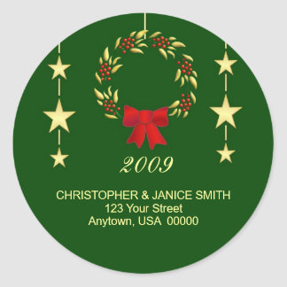 Personalized Christmas Address Labels Classic Round Sticker