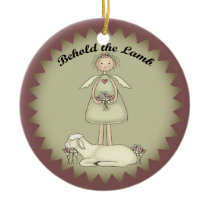 Personalized Christmas Angel And Lamb Ornament