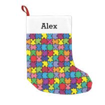 Personalized Christmas Autism Awareness Puzzle Small Christmas Stocking