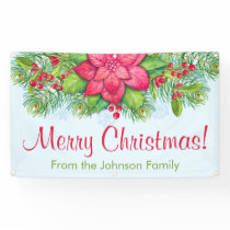 Personalized Christmas Banner Poinsettia Holly
