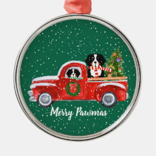 personalized christmas berner dogs red truck metal ornament