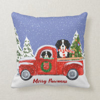 Personalized Christmas Berner Dogs Red Truck Throw Pillow