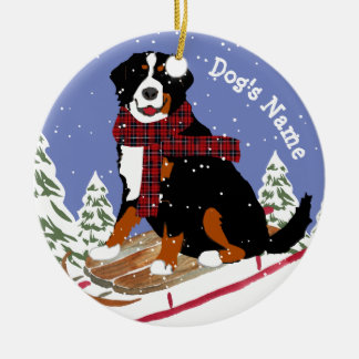 Personalized Christmas Bernese Mt Dog Sledding Ceramic Ornament