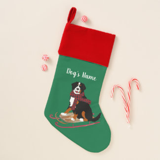 Personalized Christmas Bernese Mt Dog Sledding Christmas Stocking