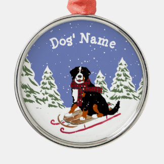 Personalized Christmas Bernese Mt Dog Sledding Metal Ornament