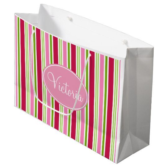Personalized Christmas Candy Stripe Gift Bag