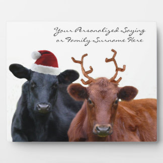 Personalized Christmas Cattle in Holiday  Costumes Plaque