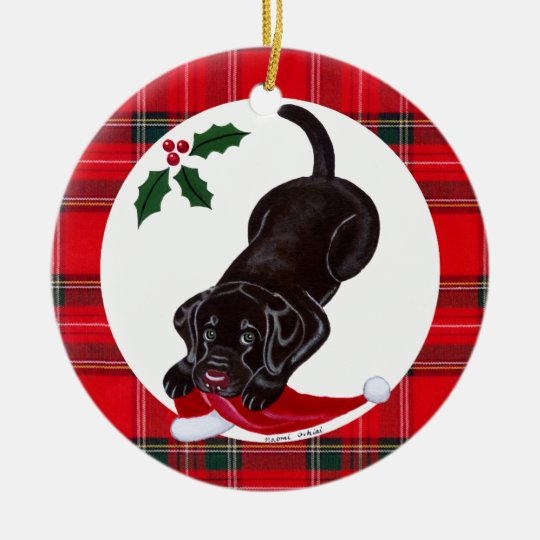 Personalized Christmas Chocolate Lab Puppy Ceramic Ornament