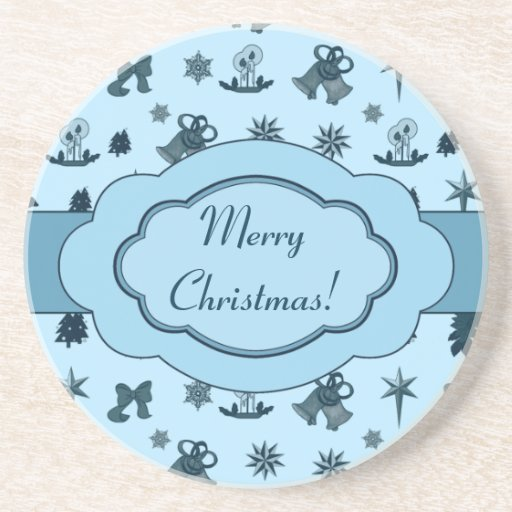 Personalized Christmas Coaster Cute Light Blue