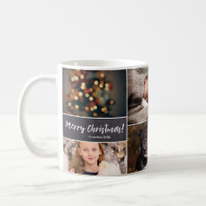 Personalized, Christmas, Collage 6 Photos, Chalk Coffee Mug