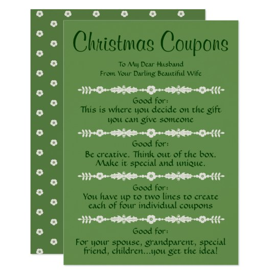 personalized christmas coupons greeting card zazzle com