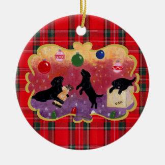 Personalized Christmas Dreaming Black Lab Christmas Ornament