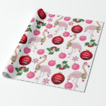 """Personalized Christmas Flamingos Wrapping Paper<br><div class=""""desc"""">Add an extra special touch to your gift giving with personalized gift wrap.  Pretty & festive flamingos with holiday decor.  Personalize with your own message.</div>"""