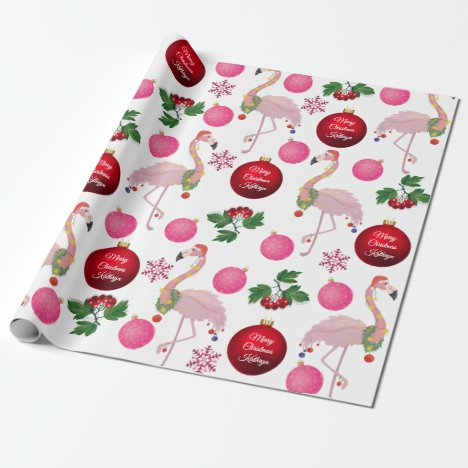 Personalized Christmas Flamingos Wrapping Paper