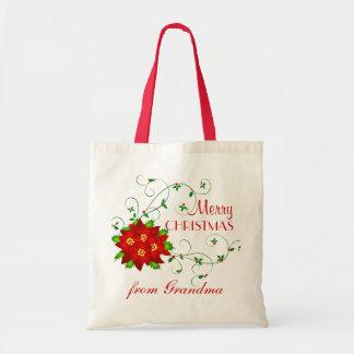 Personalized Christmas Gift Bag - Pointsettia