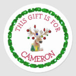 """Personalized Christmas Gift Tag Holiday Stickers<br><div class=""""desc"""">Personalized Christmas Tags cute reindeer with Christmas lights  Stickers,  just add your child's name onto the tags so he/she knows which gifts are his!</div>"""