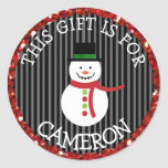 """Personalized Christmas Gift Tag Holiday Stickers<br><div class=""""desc"""">Personalized Christmas Tags cute black and red snowman Stickers,  just add your child's name onto the tags so he/she knows which gifts are his!</div>"""