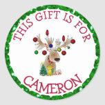"Personalized Christmas Gift Tag Holiday Stickers<br><div class=""desc"">Personalized Christmas Tags cute reindeer with Christmas lights  Stickers,  just add your child's name onto the tags so he/she knows which gifts are his!</div>"