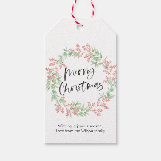 Personalized Christmas Gift Tags: Personalized Christmas Gift Tags Floral Wreath