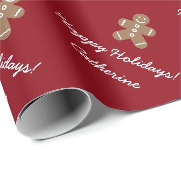 Christmas Themed Personalized Christmas gingerbread wrapping paper