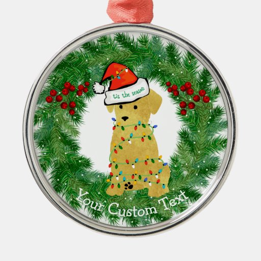 Personalized christmas golden retriever puppy metal