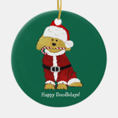 Personalized Christmas Goldendoodle Santa Claus Ceramic Ornament at Zazzle