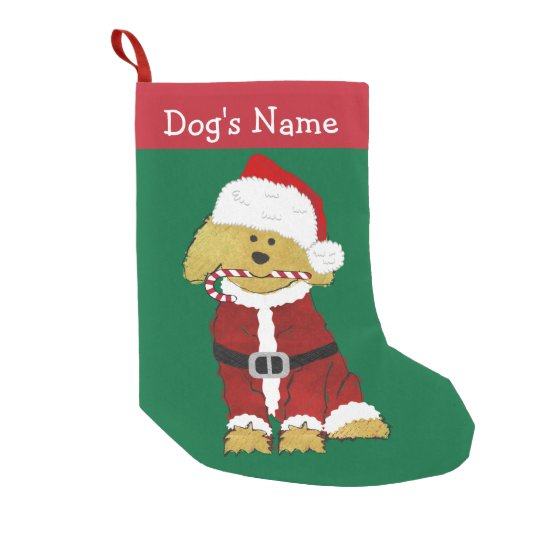 personalized christmas goldendoodle santa claus small christmas stocking - Small Christmas Stockings