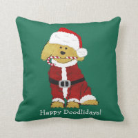 Personalized Christmas Goldendoodle Santa Claus Throw Pillow