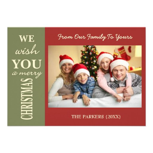 Personalized christmas greeting family photo cards 5 x 7 for Unique family christmas cards