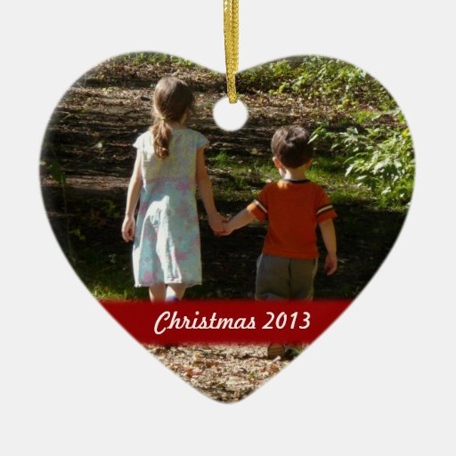 Personalized Christmas Heart Photo Ornament