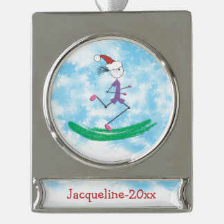 PERSONALIZED Christmas Holiday © Lady Runner Silver Plated Banner Ornament